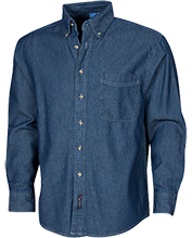Milliones Middle School. School Custom Embroidered Long Sleeve Denim Shirt