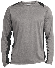 Fitness Long Sleeve Heather Colorblock Poly T-shirt