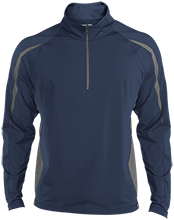 Breast Cancer Mens Sport Wicking Colorblock Half-Zip