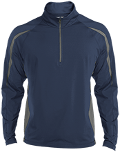 Family Mens Sport Wicking Colorblock Half-Zip