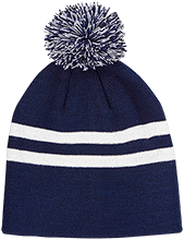 Del Val Wrestling Wrestling Team 365 Striped Pom Beanie