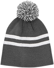 Mount Bachelor Academy School Team 365 Striped Pom Beanie