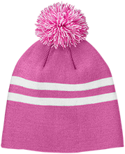 Fitness Team 365 Striped Pom Beanie