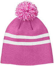 Manchester East Soccer Team 365 Striped Pom Beanie