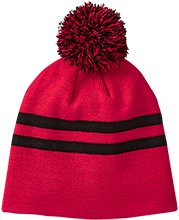 Meskwaki High School Warriors Team 365 Striped Pom Beanie