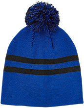 Islesboro Eagles Athletics Team 365 Striped Pom Beanie