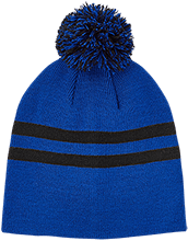 Malverne High School Team 365 Striped Pom Beanie