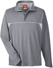 Poynette Elementary Middle School Pumas Team 365 Men's Heather Performance Lightweight 1/4 Zip