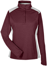 High Island High School Cardinals Team 365 Ladies Heather Performance Lightweight 1/4 Zip