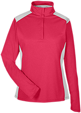 Collegiate School Cardinals Team 365 Ladies Heather Performance Lightweight 1/4 Zip