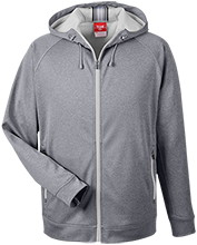 Poynette Elementary Middle School Pumas Team 365 Men's Heathered Performance Hooded Jacket