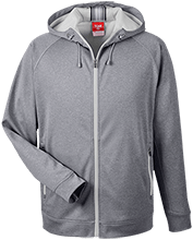 The Hagedorn Little Village School School Team 365 Men's Heathered Performance Hooded Jacket